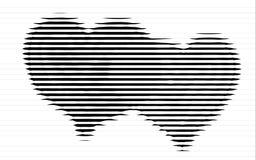 Ходы сердец scribble чертеж эскиза в черным по белому предпосылке Концепция карточки валентинки Стоковые Фотографии RF