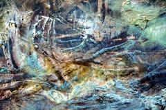 Ходы щетки абстрактного зеленого цвета коричневого цвета краски белые, органическая предпосылка гипнотика ткани Стоковое фото RF