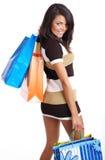 ходя по магазинам женщина усмешки Стоковое Изображение RF