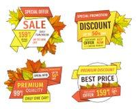 Ходя по магазинам знаки с информацией о продажах, ценники иллюстрация штока
