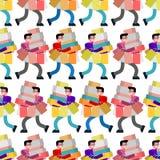 Ходя по магазинам картина безшовная Покупатель и приобретение в магазине и пакетах Предпосылка покупателя иллюстрация вектора