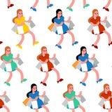 Ходя по магазинам картина безшовная Покупатель и приобретение Женщины в магазине и пакетах Предпосылка покупателя иллюстрация вектора