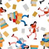 Ходя по магазинам картина безшовная Покупатель и приобретение Женщины в магазине и пакетах Предпосылка покупателя бесплатная иллюстрация