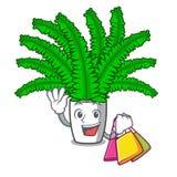 Ходя по магазинам красивые папоротники шаржа в зеленой листве иллюстрация вектора