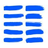 Ход кисти синих чернил вектора собрания установил ходы щетки вычерченного grunge руки декоративные собрание элемента дизайна изол иллюстрация штока