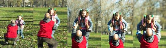 ход отца ребенка счастливый к Стоковая Фотография