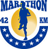 Ход спортсмена бегунка марафона иллюстрация штока