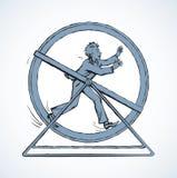 Ход человека в колесе круга r иллюстрация штока