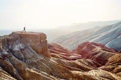 Ход человека в пустыне стоковое изображение rf