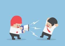 Хозяйничайте кричать на бизнесмене через мегафон настолько громко Стоковая Фотография RF