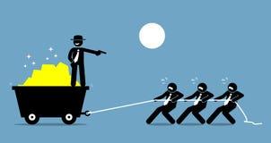 Хозяйничайте принуждать работников и работников работать крепко путем угрожать их с оружием иллюстрация вектора