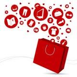 Хозяйственная сумка и икона способа Стоковое фото RF