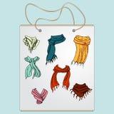 Хозяйственная сумка, сумка подарка с изображением модных вещей Стоковая Фотография