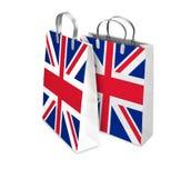2 хозяйственной сумки раскрытой и закрытой с флагом Великобритании Стоковые Фото