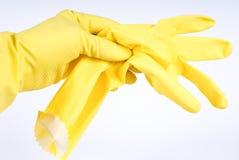 хозяйственные перчатки yelloy Стоковые Изображения RF