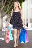 Хозяйственные сумки нося женщины на улице города Стоковые Фото