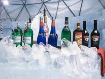 Хоккаидо, Япония - 13-ое декабря 2016: Холодный бар льда занимает среднее Стоковая Фотография
