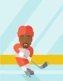 Хоккеист на катке Стоковые Изображения