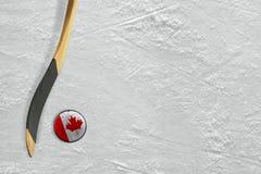 Хоккейная клюшка и шайба Канада Стоковое Изображение RF