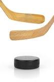 Хоккейная клюшка и шайба Стоковые Фотографии RF