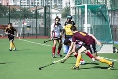Хоккей Гибралтара - Grammarians HC против Малаги Испании Стоковое Изображение