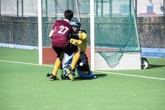Хоккей Гибралтара - Grammarians HC против Малаги Испании Стоковое Изображение RF