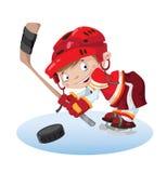 Хоккей мальчика улыбки Стоковая Фотография
