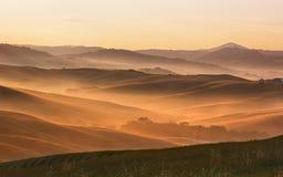 холмистый ландшафт Тоскана Стоковое Изображение RF