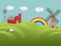 холмы сельскохозяйствення угодье зеленые Стоковое Изображение RF