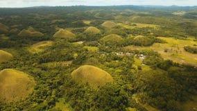 Холмы шоколада в Bohol, Филиппинах, виде с воздуха Стоковое Фото