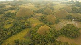 Холмы шоколада в Bohol, Филиппинах, виде с воздуха Стоковые Фото