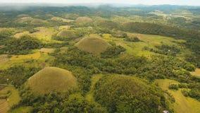 Холмы шоколада в Bohol, Филиппинах, виде с воздуха Стоковая Фотография