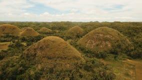 Холмы шоколада в Bohol, Филиппинах, виде с воздуха Стоковые Фотографии RF