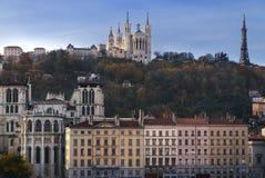 Холм Лиона и fourviere стоковые изображения rf