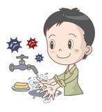 Холода и предохранение инфлуензы - мытье руки - мальчик иллюстрация штока