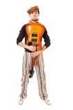 холодная белизна музыканта гитары стоковые изображения
