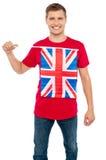 Холодная ванта с идеей флага Великобритании на тенниске Стоковое Изображение RF