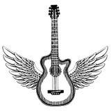 холодная гитара Эмблема утеса для музыкального фестиваля Тяжелый концерт metall Печать футболки, плакат саксофон части аппаратуры бесплатная иллюстрация