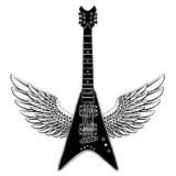 холодная гитара Эмблема утеса для музыкального фестиваля Тяжелый концерт metall Печать футболки, плакат саксофон части аппаратуры иллюстрация штока