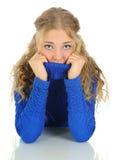 холодная девушка имея Стоковые Фото