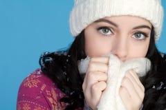 холодная зима девушки стоковое изображение rf