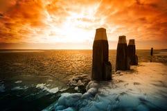 холодная зима захода солнца Стоковая Фотография RF