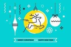 Холодная плоская линейная иллюстрация Xmas для знамен, поздравительных открыток и приглашений вектор техника eps конструкции 10 п Стоковая Фотография RF
