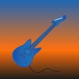 Холодная электрическая гитара в голубом цвете На динамической предпосылке также вектор иллюстрации притяжки corel Стоковая Фотография RF