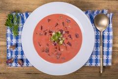 Холодный борщ - специальность на горячие летние дни Vegetable холодный суп с свеклой, огурцом, картошкой, radsih и яичком конец в Стоковые Изображения