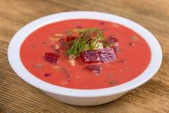Холодный борщ - специальность на горячие летние дни Vegetable холодный суп с свеклой, огурцом, картошкой, radsih и яичком конец в Стоковое фото RF