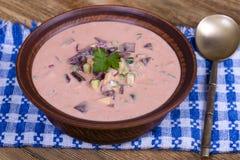 Холодный борщ - суп бураков Овощной суп лета светлый холодный с свеклой, огурцом, radsih, картошкой, яичком и кефиром на деревянн Стоковое фото RF