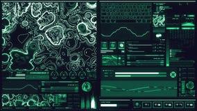 Холодный голубой футуристический интерфейс/цифров screen/HUD акции видеоматериалы