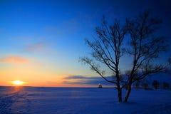 холодный заход солнца стоковая фотография
