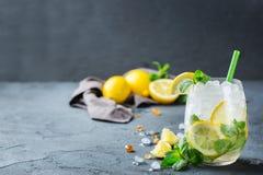 Холодный коктеиль mojito спирта, напиток длинного питья, лимонад Стоковое Изображение
